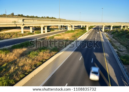 View of landscape with two way highway under evening light. Central Israel. #1108835732