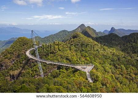 View of Langkawi Sky Bridge and rain forest from a higher  point #564608950