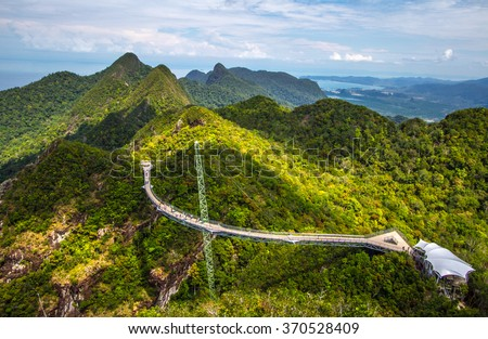 View of Langkawi Sky Bridge from a higher vantage point #370528409