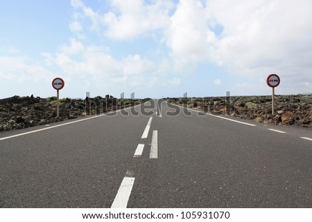 View of Lanzarote Road Through the Rocks (Canary Islands, Spain)