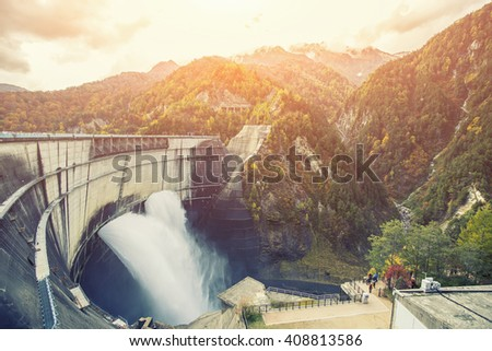 view of large dam in japan...