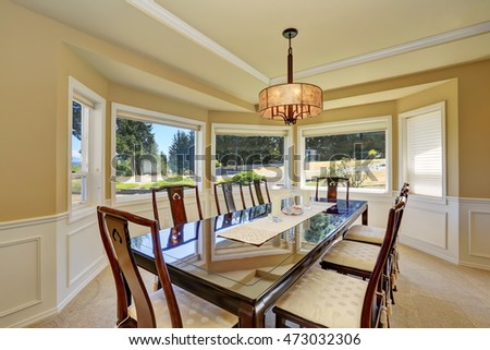 View Of Large Dining Table For Eight Person In Luxury House. Northwest, USA