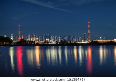 View of large refinery at night in Gdansk, Poland.