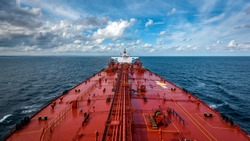 View of large tanker from forward mast