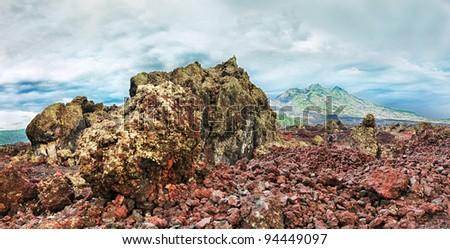 View of lava and violcano Batur. Bali