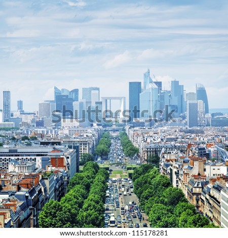 View of Le Defence form the Arch of Triumph. Le Defence is a; major business district of the Paris aire urbaine.