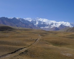 View of Lenin Peak nowadays Ibn Sina peak in the snow-capped Trans-Alai mountain range in southern Kyrgyzstan
