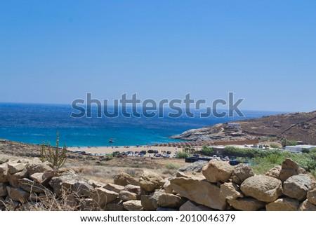 view of Lia beach in Mykonos island  Foto stock ©