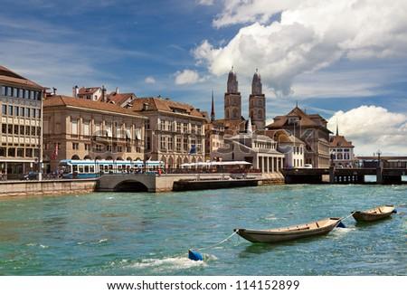 View of Limmat river and Zurich, Switzerland