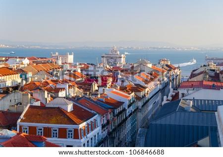view of Lisbon city from Santa Justa Elevator, Portugal