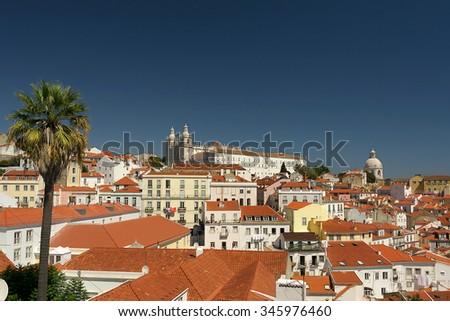 View of Lisbon from Miradouro das Portas do Sol Zdjęcia stock ©