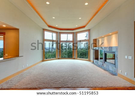 View of living room in luxury house - stock photo