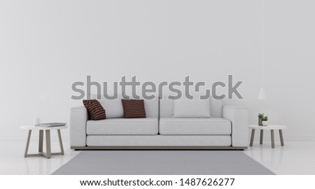 View of living room space with white sofa set and wood side table on white wall and bright laminate floor.Perspective of minimal Interior design. 3d rendering. #1487626277