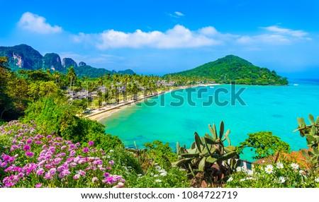 View of Loh Samah Bay at Ko Phi Phi Lee island, Krabi Province, Andaman Sea, Thailand