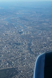 View of London City from airplane