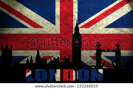 View of London on the Grunge British Flag
