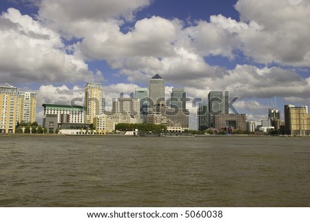 View of London's Canary Wharf across the Thames, London - stock photo