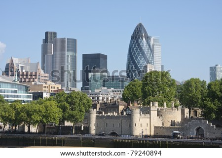 View of London's skyline showing the Gherkin and Tower of London