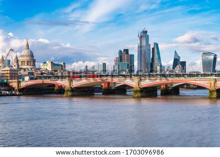 View of London with Blackfriars Bridge, the City and the river Thames