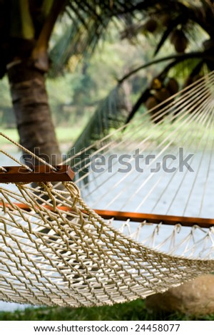 View of lonely hammock in beautiful Indian resort