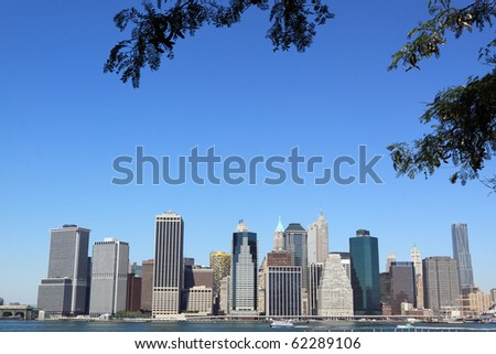 View of lower Manhattan Skyline on a clear blue day from Brooklyn, New York City