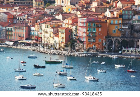 View of luxury resort and bay of Cote d'Azur in France. - stock photo