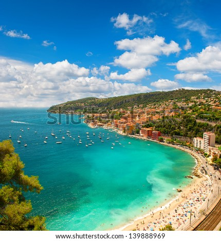 view of luxury resort and bay of Cote d'Azur in France. Villefranche near Nice and Monaco, french riviera