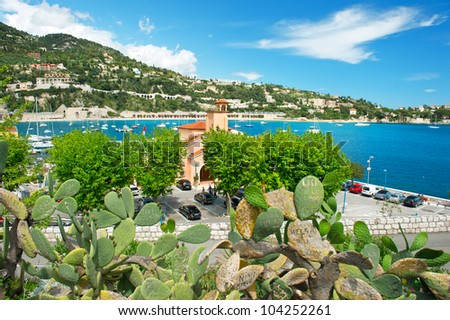 view of luxury resort and bay of Villefranche-sur-Mer, Cote d'Azur, french reviera, near Nice and Monaco