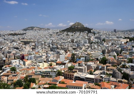 View of Lycabettus hill from Acropolis in Athens, Greece