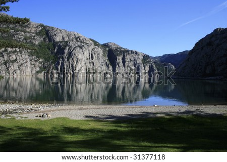 View of Lysefjorden in Norway a sunny day