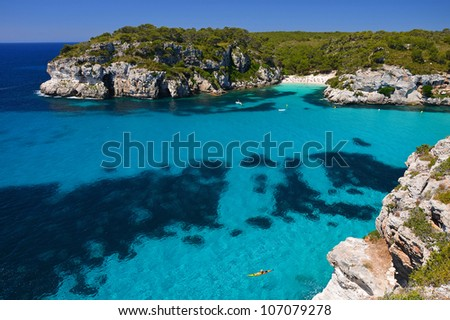 View of Macarella bay and beautiful beach, Menorca, Balearic Islands, Spain