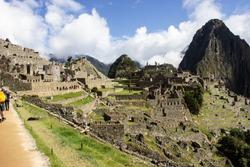 View of Machu Picchu at the end of the Inka trail, Peru, South America