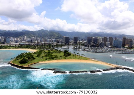 View of Magic Island beach park in Hawaii, from helicopter.