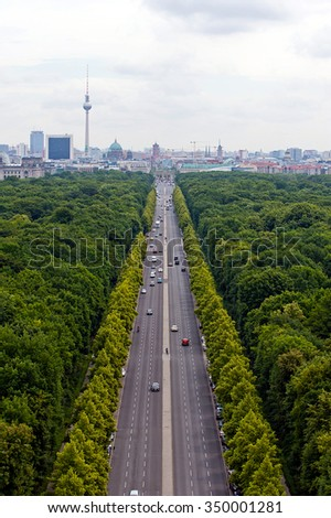 View of main street and Berlin city: tv tower, Brandenburg gate, reichstag, Tiergarten and cathedral dome #350001281