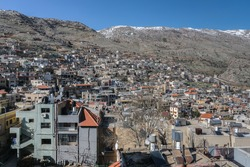 View of Majdal Shams, a Druze town in the southern foothills of Mount Hermon, north of the Golan Heights, Israel