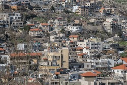 View of Majdal Shams, a Druze town in the southern foothills of Mount Hermon, north of the Golan Heights, Israel.