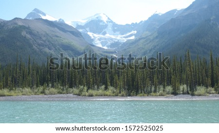 View of Maligne Lake and Canadian Rocky Mountains, Jasper National Park, British Columbia, Canada