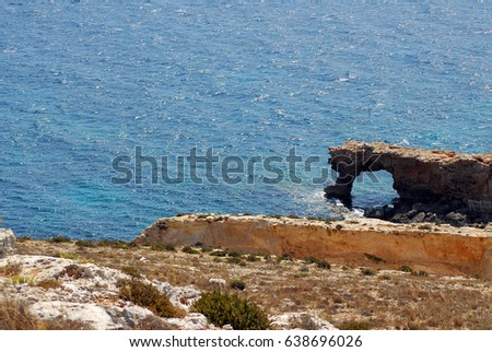 View of maltese coast from the Mnajdra temple complex,Malta.