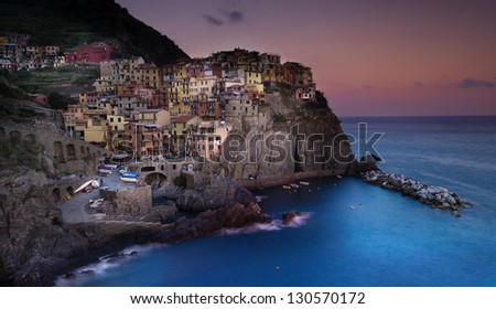 View of Manarola village at sunset (Cinque Terre,Italy)