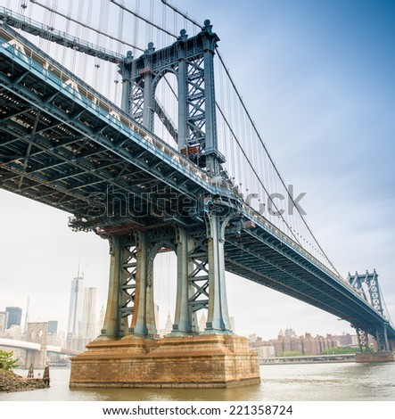 View of Manhattan Bridge on a overcast spring day - New York City. #221358724