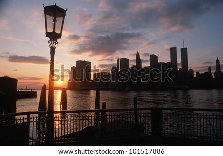 View of Manhattan from the Brooklyn Bridge at sunset, New York City, New York