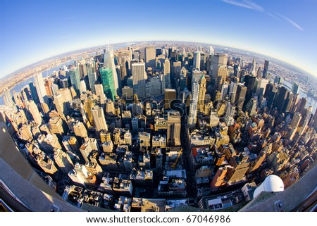 view of Manhattan from The Empire State Building, New York City, USA