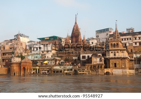 View of Manikarnika Ghat, Varanasi, India. Taken from the river after monsoon.