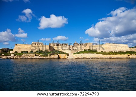 View of  Manoel  fort from Marsamxett harbour. Malta