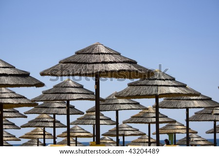 View of many aligned rows of straw umbrellas on some beach.