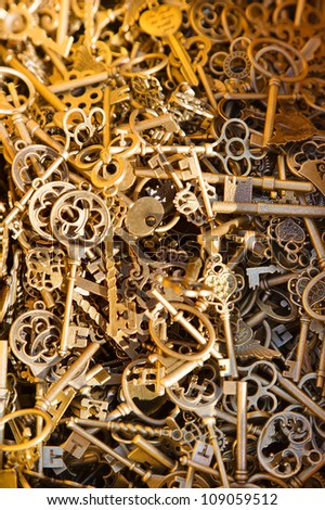 View of many antique keys
