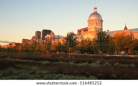 VIew of Marche Bonsecours in Old port in Montreal, Quebec by a nice early morning during fall season