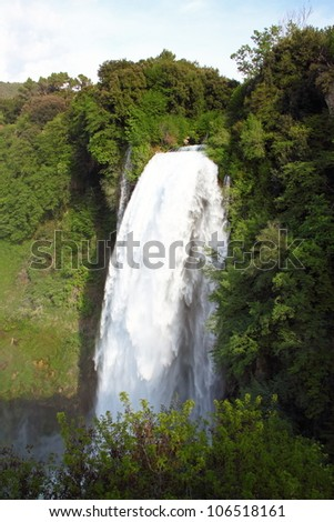 View of Marmore's Falls (Umbria, Italy), one of highest waterfall of Europe (165m)