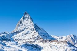 View of Matterhorn on a clear sunny day on the winter hiking path, Zermatt, Switzerland