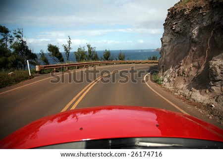 "view of maui from a convertiable rental car with ""room for text"""